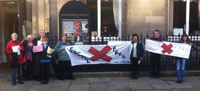 Fossil Free campaigners at Huddersfield Town Hall