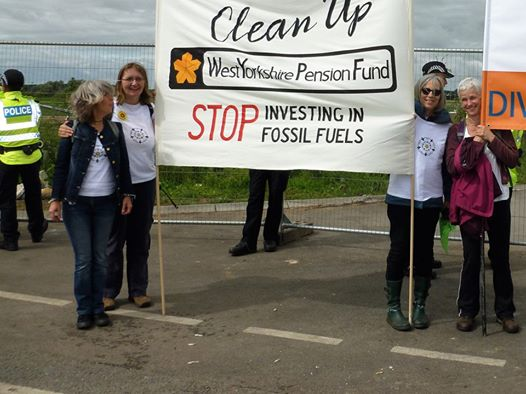 Fossil Free West Yorkshire campaignrs at Preston New Road fracking site